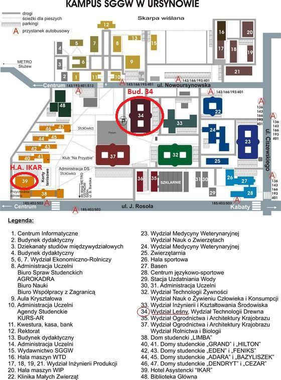 """Plan Kampusu SGGW z zaznaczonym budynkiem Wydziału Leśnego (Bud. 34) oraz Hotelem Asystenckim """"Ikar"""""""